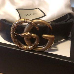 Gucci bronze double G snake belt